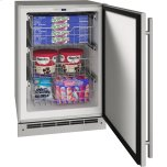 """U-LINEOutdoor Collection 24"""" Convertible Freezer With Stainless Solid Finish and Field Reversible Door Swing (115 Volts / 60 Hz)"""
