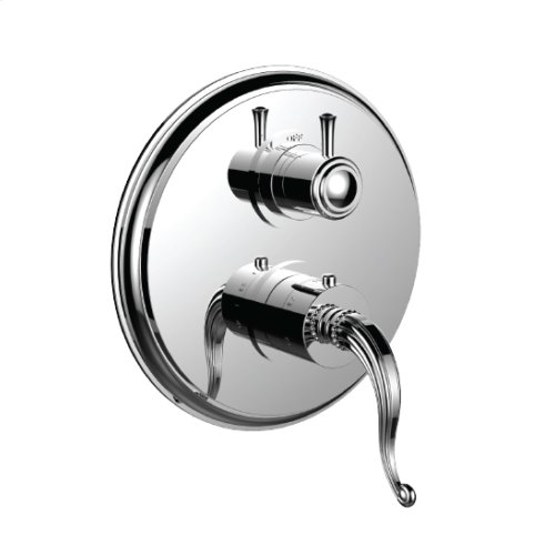 """7099fl-tm - 1/2"""" Thermostatic Trim With Volume Control and 3-way Diverter in Unlacquered Brass"""