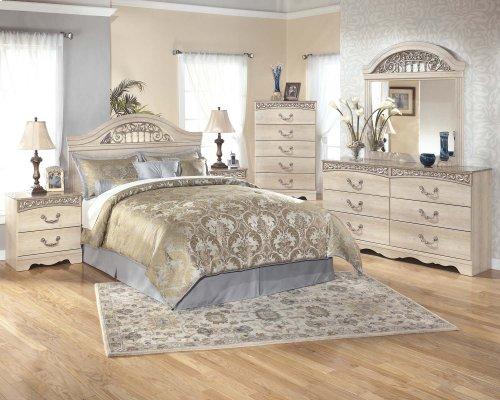 Ashley - Catalina - Antique White 4 Piece Bedroom Set - Dresser, Mirror, Headboard, Footboard & Rails