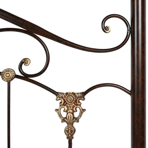 Lucinda Complete Metal Bed and Steel Support Frame with Intricate Scrollwork and Sleigh-Styled Top Rails, Marbled Russet Finish, California King