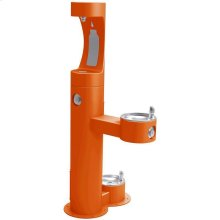 Elkay Outdoor ezH2O Bottle Filling Station, Bi-Level Pedestal with Pet Station NonFilter, NonRefrige FreezeResist Orange