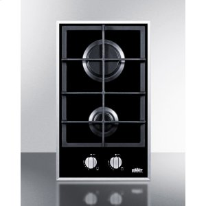 Summit2-burner Gas-on-glass Cooktop With Sealed Burners and Cast Iron Grates