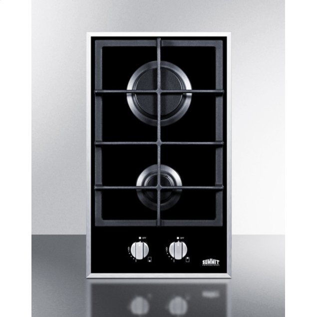 Summit 2-burner Gas-on-glass Cooktop With Sealed Burners and Cast Iron Grates