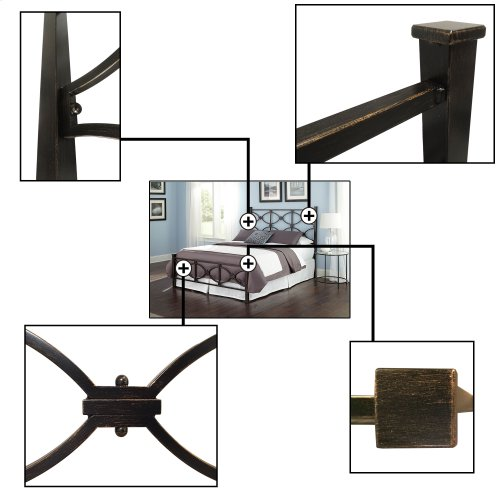 Marlo Bed with Metal Panels and Squared Finial Posts, Burnished Black Finish, California King