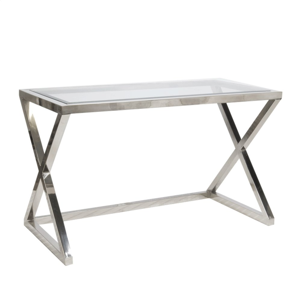 Stainless Steel Desk With Beveled Glass Top.