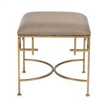 Hammered Gold Leaf Stool W. Beige Linen Upholstered Top.
