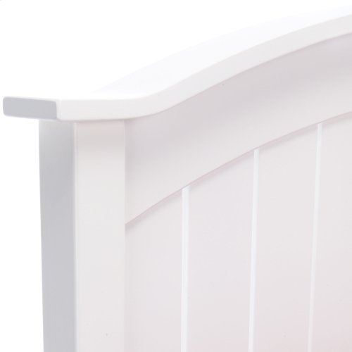 Finley Wooden Headboard Panel with Curved Top Rail Design, White Finish, Twin