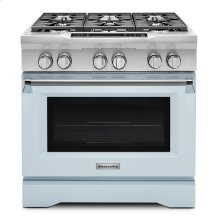 Limited Edition KitchenAid® 36'' 6-Burner Dual Fuel Freestanding Range, Commercial-Style Misty Blue
