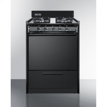 "24"" Wide Gas Range In Black With Sealed Burners and Electronic Ignition"