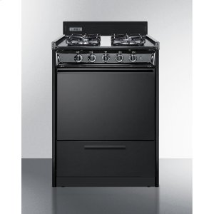 "Summit24"" Wide Gas Range In Black With Sealed Burners and Electronic Ignition"