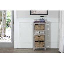 Tuscan Retreat® Basket Stand With Metal Front Drawer Three Baskets - Taupe