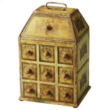This distinct, eye-catching jewelry case is sure to become an instant heirloom. Nine drawers and a compartment on top offer storage for an array of jewelry items. Whimsically elegant, this painted solid mango wood box is nothing less than beautiful.