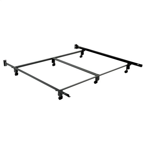 Inst-A-Matic Premium 774R Bed Frame with Headboard Brackets and (6) 2-Inch Locking Rug Roller Legs, Black Finish, California King