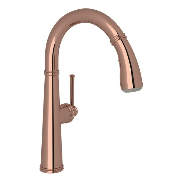 Rose Gold 1983 Pull-Down Bar/Food Prep Faucet with 1983 Metal Lever