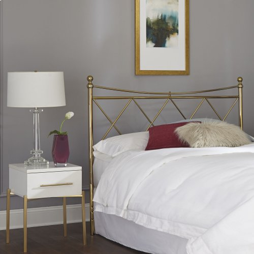 Lennox Metal Headboard Panel with Diamond Pattern Design and Downward Sloping Top Rail, Classic Brass Finish, Queen