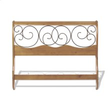 Dunhill Wood Headboard Sleigh Style Panel with Metal Autumn Brown Swirling Scrolls, Honey Oak Finish, Queen