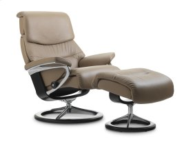 Stressless Capri Medium Signature Base Chair and Ottoman