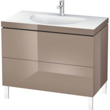 Furniture Washbasin C-bonded With Vanity Floorstanding, Cappuccino High Gloss Lacquer