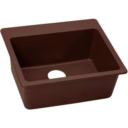 "Elkay Quartz Classic 25"" x 22"" x 9-1/2"", Single Bowl Drop-in Sink, Pecan"