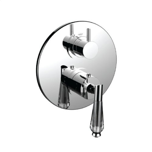 """7098fc-tm - 1/2"""" Thermostatic Trim With 3-way Diverter Trim (shared Function) in Unlacquered Brass"""