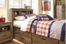 Twin Bookcase Bedroom Group: Twin Bed, Nightstand, Dresser & Mirror