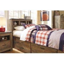 Twin Bookcase Bedroom Set: Twin Bed, Nightstand, Dresser & Mirror