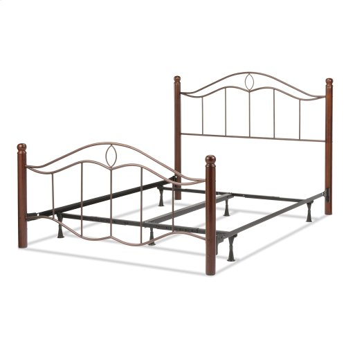 Cassidy Complete Metal Bed and Steel Support Frame with Sloping Horizontal Rails and Dark Walnut Wood Color Finial Posts, Mink Finish, Queen