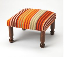 This stool will stylishly enhance your space. Featuring a primitive aesthetic, it is crafted from Mango wood solids with a bold striped cotton fabric.