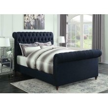 Gresham Navy Blue Upholstered Full Bed
