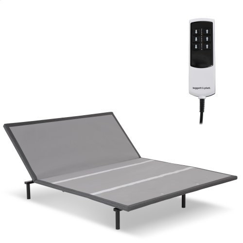 Bas-X 2.0 Low-Profile Adjustable Bed Base with Head Articulation and MicroHook Technology, Charcoal Gray, Queen