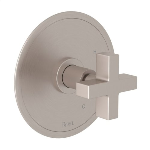 Satin Nickel Pirellone Pressure Balance Trim Without Diverter with Cross Handle
