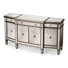 This magnificent buffet features elegant antique mirror inlays on its top, drawer fronts, sides and tapered feet. No detail is overlooked with a beveled edged top, beaded carving on its base and striking pewter finished trim. Handcrafted from select hardw