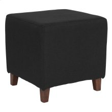 Upholstered Ottoman Pouf in Black Fabric