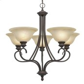 Lancaster 5 Light Chandelier in Rubbed Bronze with Antique Marbled Glass