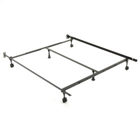 Sentry 79/60-6R Adjustable Bed Frame with Headboard Brackets and (4) 2-Inch Locking Rug Roller Legs, Twin / California King