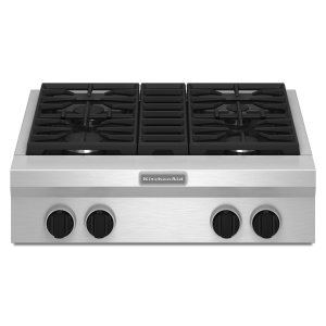 30-Inch 4 Burner Gas Rangetop, Commercial-Style Stainless Steel -