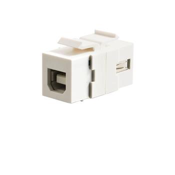 Snap-In USB A/B Female Keystone Insert Module - White