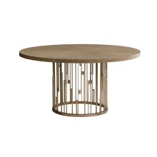Rendezvous Round Metal Dining Table With Wooden Top