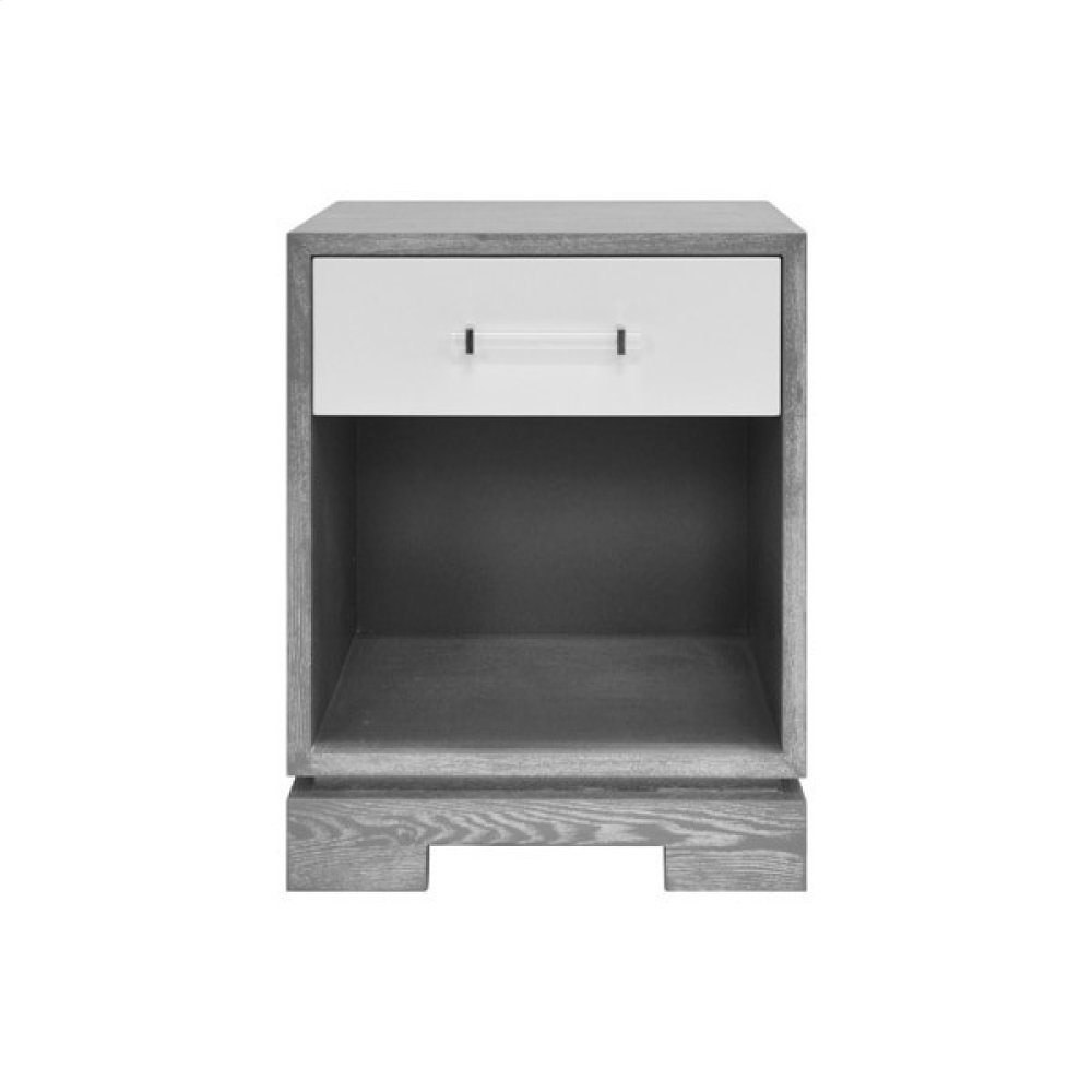 One Drawer Small Side Table With Acrylic and Nickel Hardware In Matte Lacquer and Grey Cerused Oak