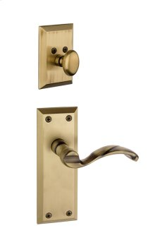 Grandeur - Single Cylinder Combo Pack Keyed Differently - Fifth Avenue Plate with Portofino Lever and Matching Deadbolt in Vintage Brass