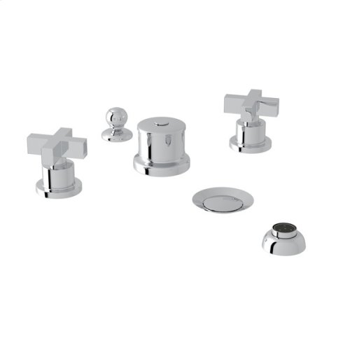 Polished Chrome Pirellone 5-Hole Bidet Faucet with Cross Handle