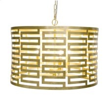 Gold Leaf With Small Greek Key and 3 Light Cluster Pendant. Takes (3) 40 Watt Chandelier Bulbs. 3' Matching Chain Included.