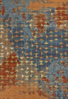 "Illusions 6208 Blue/coral Elements 3'3"" X 4'11"""