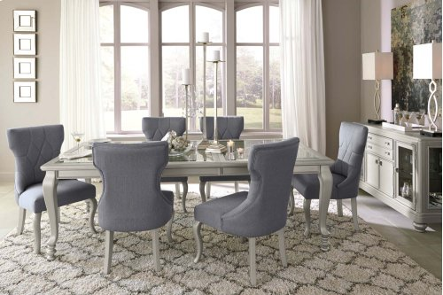 Coralayne - Silver Finish 7 Piece Dining Room Set