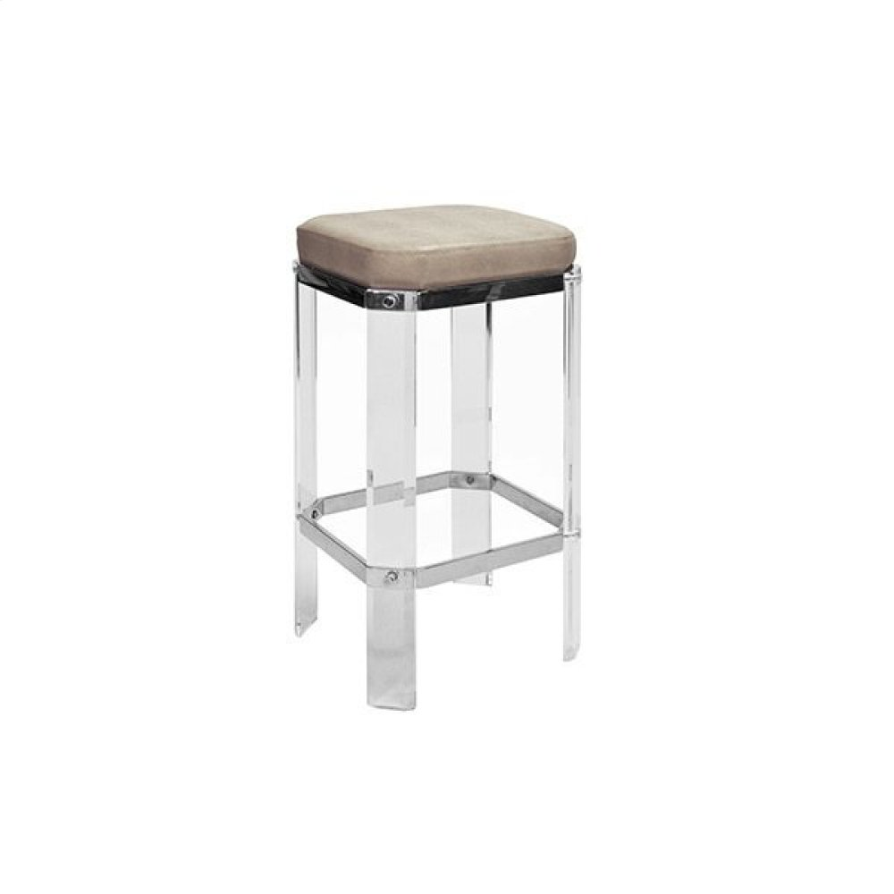 Acrylic Counter Stool With Nickel Accents & Brown Shagreen Cushion