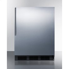 Freestanding Counter Height Refrigerator-freezer for Residential Use, Cycle Defrost With A Stainless Steel Wrapped Door, Thin Handle, and White Cabinet