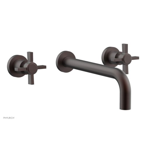 """Basic Wall Tub Set 10"""" Spout - Blade Cross Handles D1137-10 - Weathered Copper"""