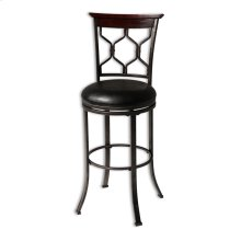 Tallahassee Metal Counter Stool with Black Upholstered Swivel-Seat and Heritage Silver Frame Finish, 26-Inch