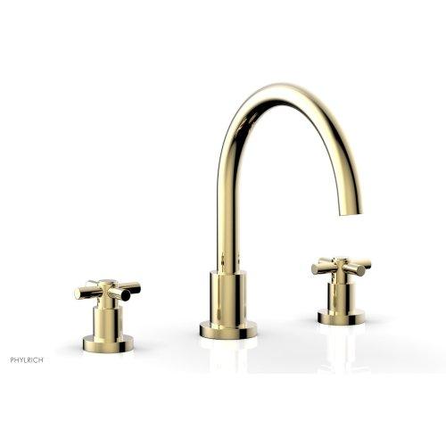 BASIC Deck Tub Set - Tubular Cross Handles D1134C - Polished Brass Uncoated