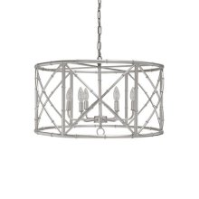 Six Light Bamboo Chandelier In Silver Leaf - Ul Approved for (6) 40w Candelabra Bulbs